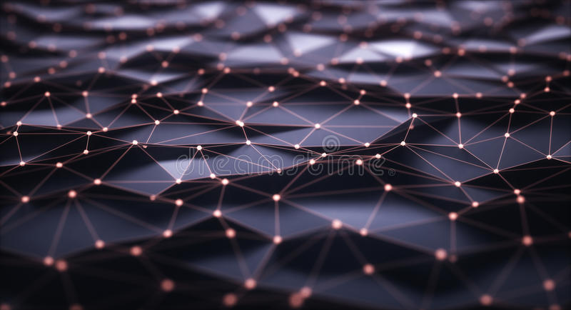 Abstract Background Internet Connections. 3D illustration, abstract background. Mesh with connections and points that can represent cloud computing or internet royalty free illustration