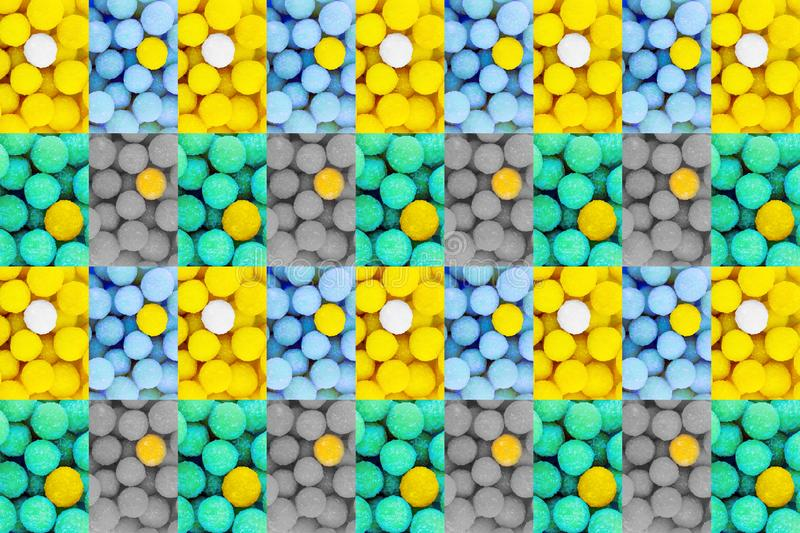 Abstract background intertwined panel mint green balls candy lemon tinted contrasting lollipops symmetrical pattern royalty free stock photography