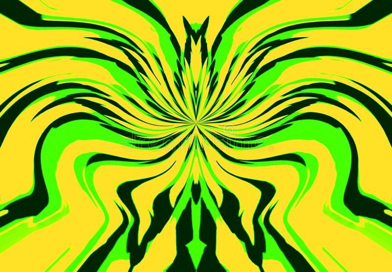 The abstract background in the jungle style of wavy lines of different widths of black, yellow and light green. Horizontal vector illustration