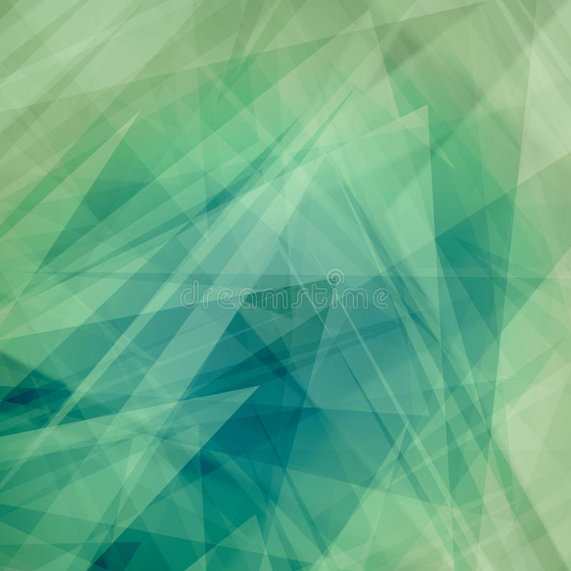 Abstract background with layers of triangles, polygons, stripes and random shapes of white blue and green colors in modern art sty vector illustration