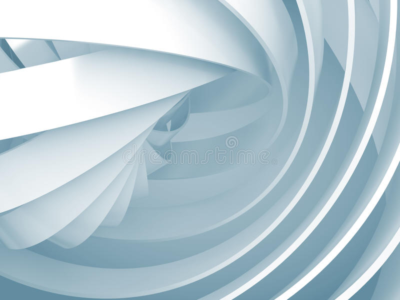 Abstract background with light blue 3d spiral structures royalty free illustration