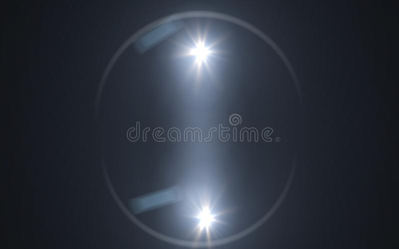 Abstract background lighting flare and black background.Rainbow shining on black background stock illustration