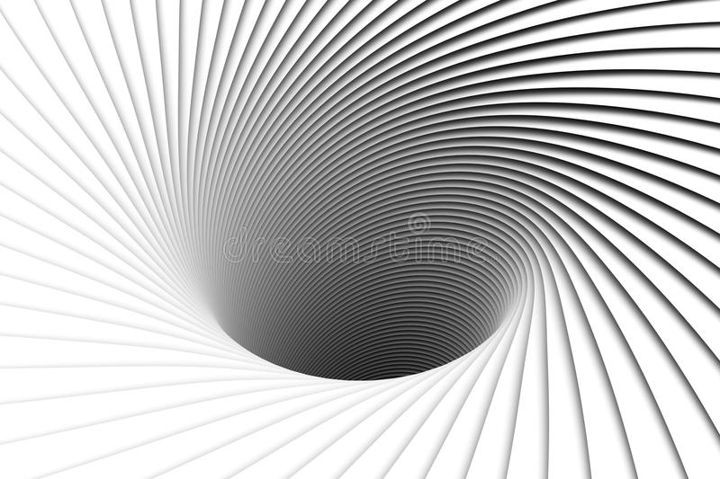 Abstract background lines black hole. 3d illustration royalty free illustration