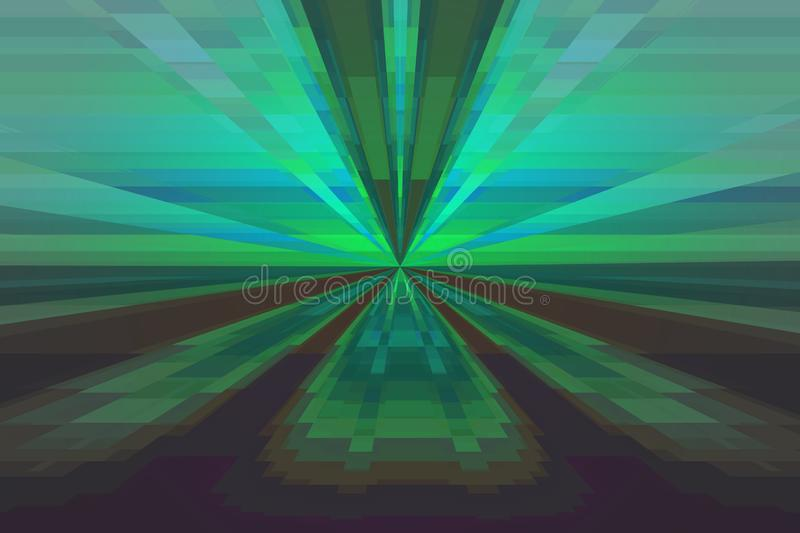 Abstract background with lines and rays green, blue and brown royalty free illustration