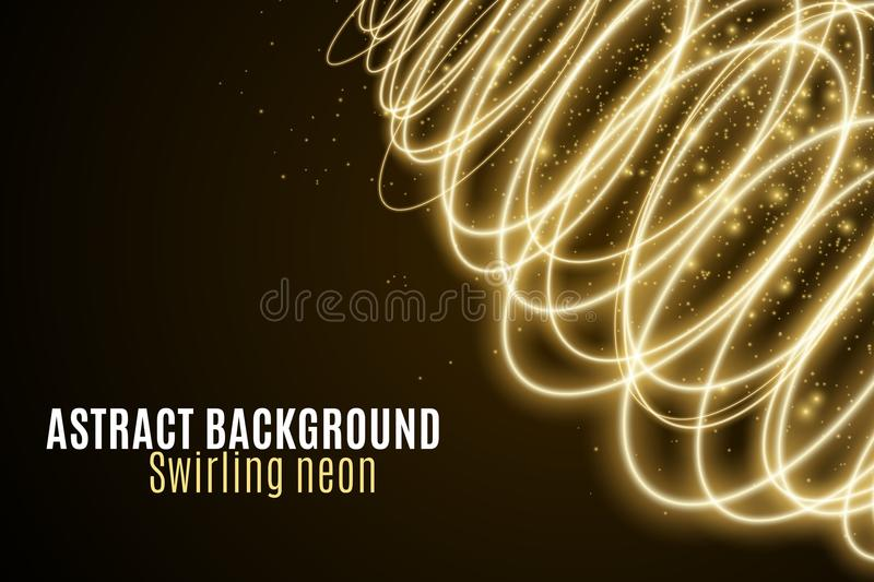 Abstract background of luminous golden neon waves. Wallpapers for your design. Magic flying dust. Chaotic light circles. Twisted l stock illustration