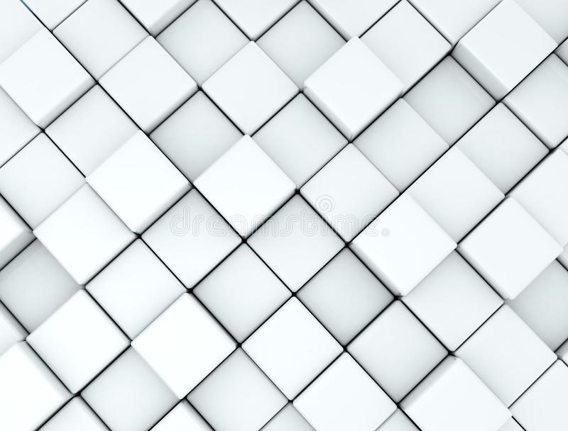 Abstract background made white of 3d cubes stock image