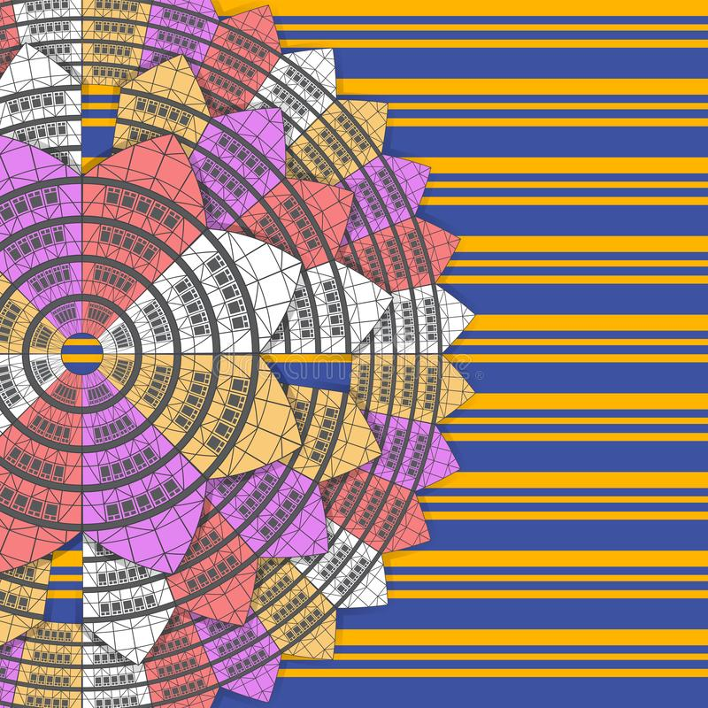 Abstract background mandala house on a background of horizontal stripes. The design element of the printing paper. Vector image. Eps 10 vector illustration