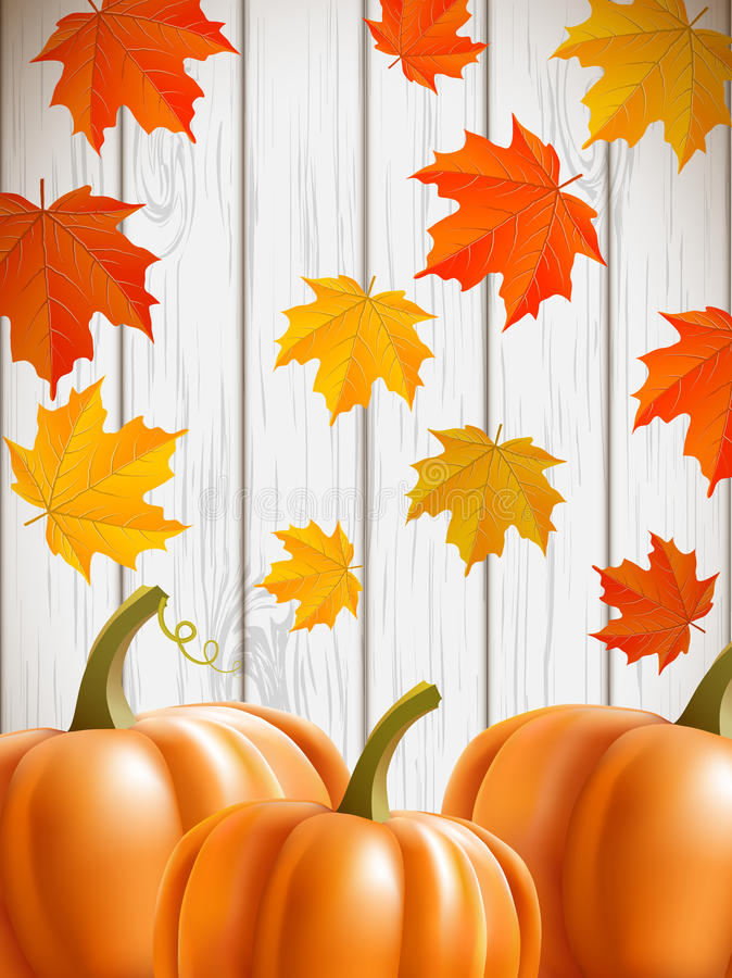 Abstract Background With Maple Leaves And Pumpkins Stock Vector