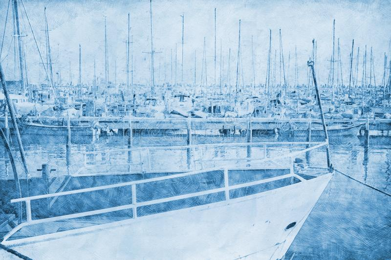 Abstract background of marina pier with boats. Pencil sketch painting style. Blue colors vector illustration