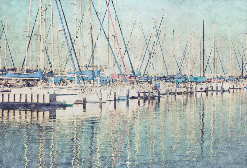 Abstract background of marina pier with boats. Pencil sketch painting style. stock illustration