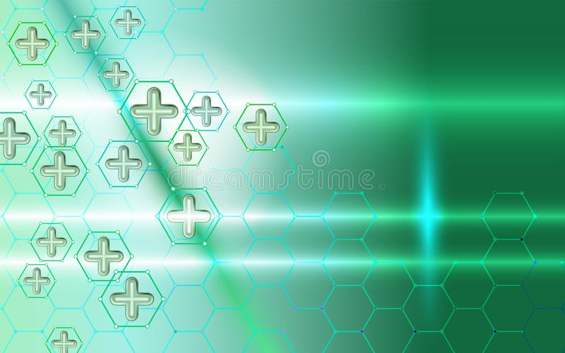 Abstract background medical technology and science concept. Cross green abstract composition. Technological hexagon pattern can be vector illustration