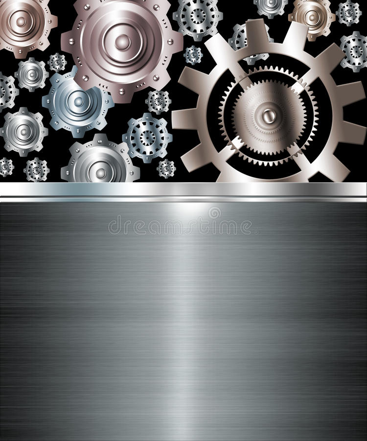 Abstract background metallic chrome silver gears stock illustration