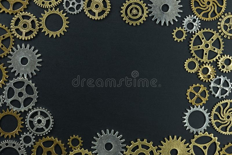 Abstract background of metelic gear on black background.  stock photography
