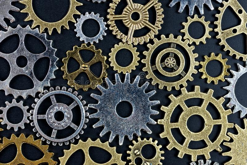 Abstract background of metelic gear on black background.  stock photos