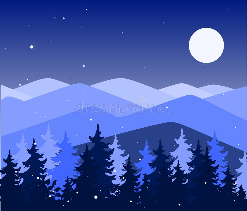 Abstract background with mountains and trees. Forest wilderness and magic winter landscape. Template for your design royalty free illustration