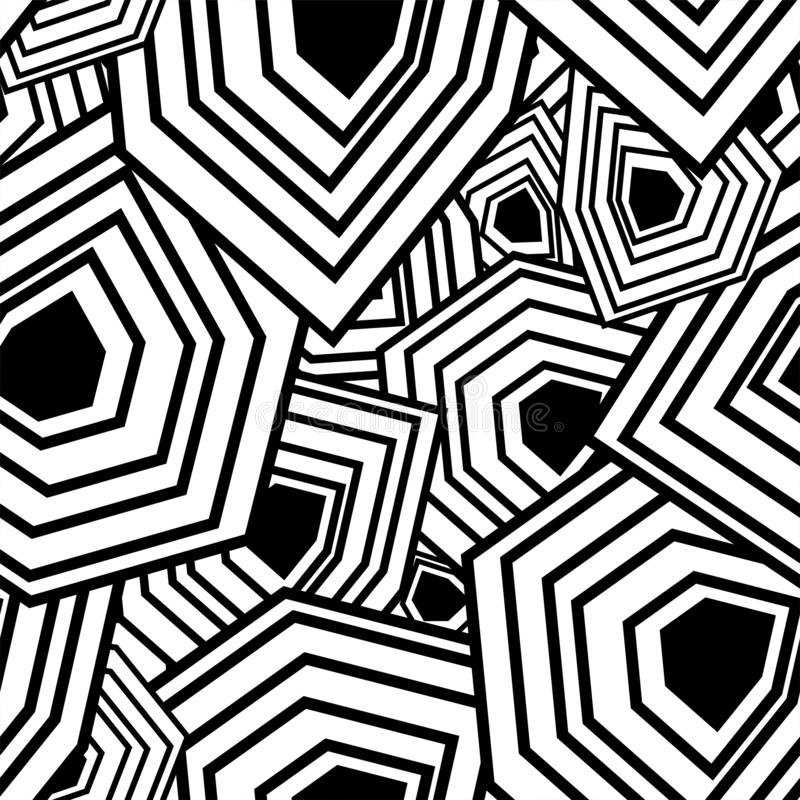 Abstract background with multifaceted shapes in the style of the 60s, 70s. Scattering figures. Abstract background with multifaceted shapes in the style of the royalty free illustration