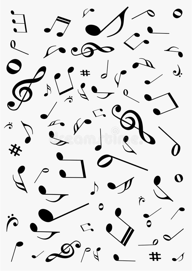 Abstract background with music notes. Abstract gray background with music notes royalty free illustration