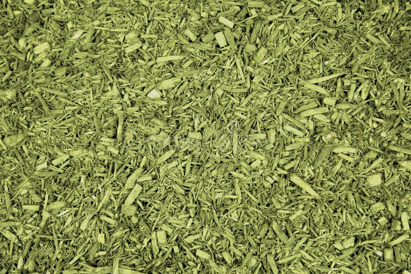 Green mulch or herbs. Abstract background of natural looking green herb or chips royalty free stock image
