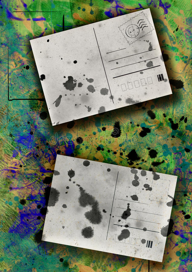 Abstract background. Old grunge post cards on paper background with splats stock illustration
