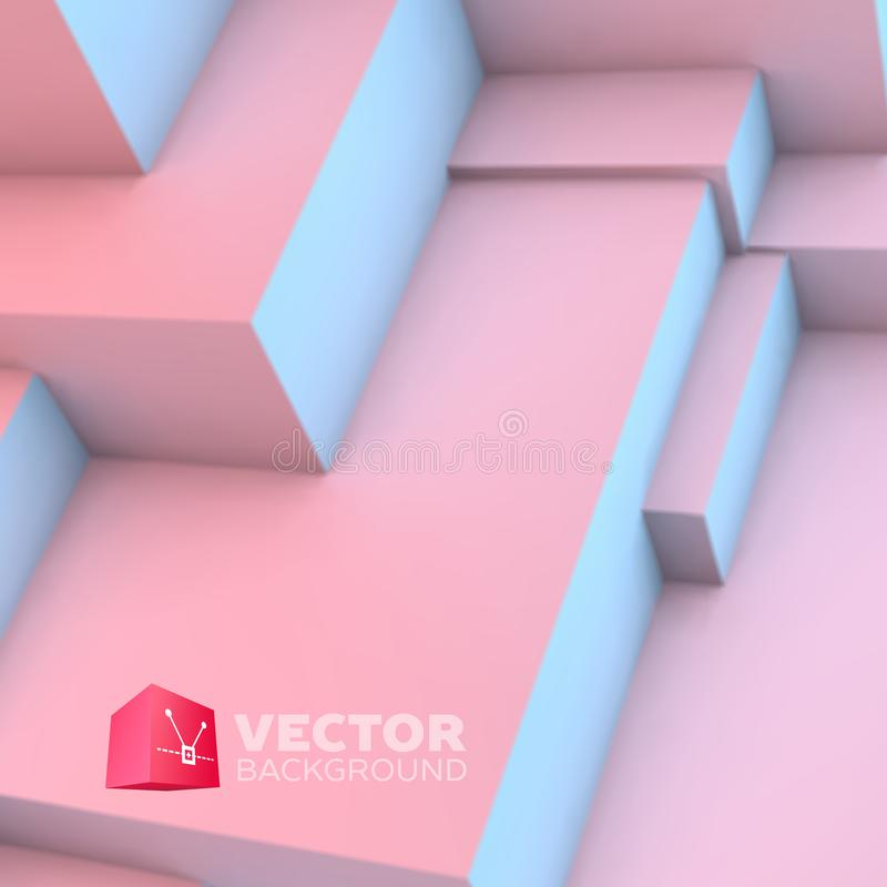 Abstract background with rose quartz and serenity cubes. Abstract background with overlapping rose quartz and serenity cubes stock illustration