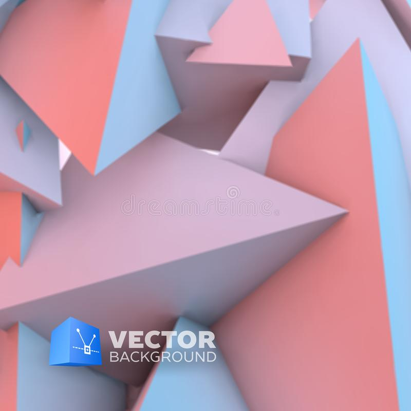 Abstract background with rose quartz and serenity pyramids. Abstract background with overlapping rose quartz and serenity pyramids stock illustration