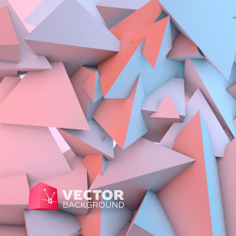 Abstract background with rose quartz and serenity pyramids. Abstract background with overlapping rose quartz and serenity pyramids vector illustration