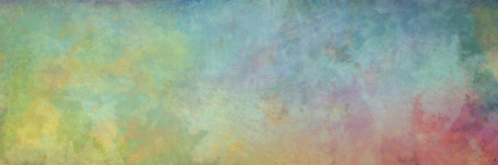 Abstract background with painted stains and old vintage texture in light blue green pink and yellow colors in smeared paint design royalty free illustration