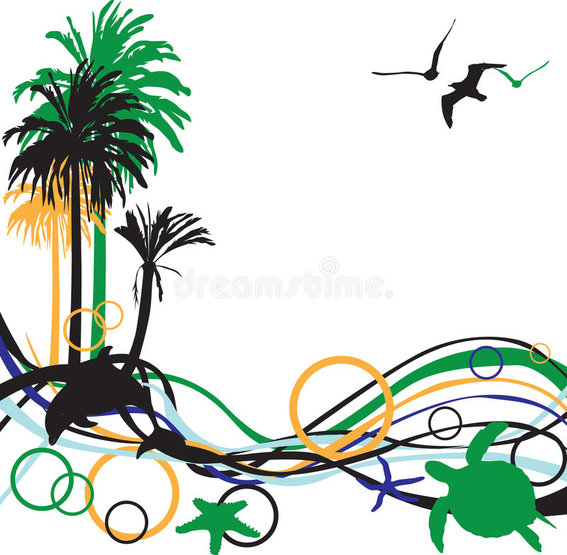 Abstract Background With Palm Trees Stock Photography