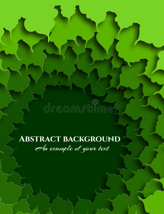 Abstract background in paper cut style. The green foliage of the tree. Art to create designs. Vector royalty free illustration