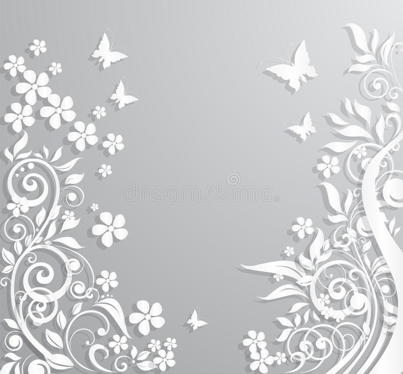 Abstract background with paper flowers and butterflies. vector illustration