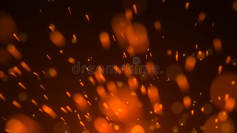 Abstract background of particles. Fire flying sparks. Burning red sparks. Fire. 4k background. Abstract background of particles. Fire flying sparks. Burning red royalty free illustration
