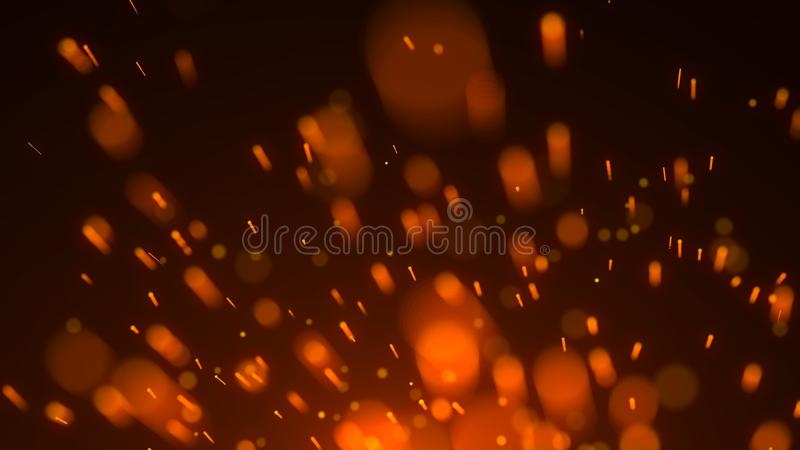 Abstract background of particles. Fire flying sparks. Burning red sparks. Fire. 4k background. Abstract background of particles. Fire flying sparks. Burning red stock illustration