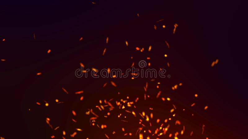Abstract background of particles. Fire flying sparks. Burning red sparks. Fire. 4k background. Abstract background of particles fire flying sparks. Burning red stock illustration