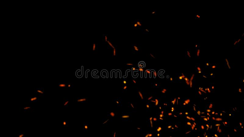 Abstract background of particles. Fire flying sparks. Burning red sparks. Fire. 4k background. Abstract background of particles fire flying sparks. Burning red royalty free illustration