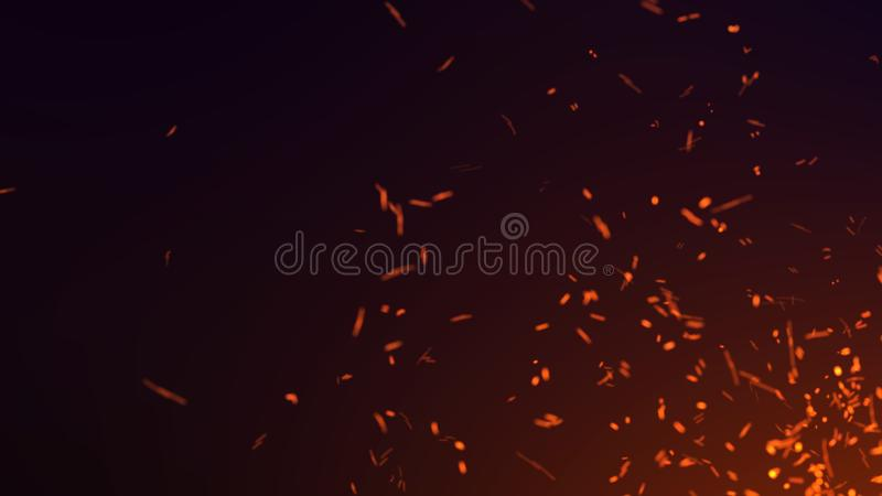 Dust particles. Abstract background of particles. Fire flying sparks. 3d rendering. Abstract background of particles. Fire flying sparks. 3d rendering stock illustration