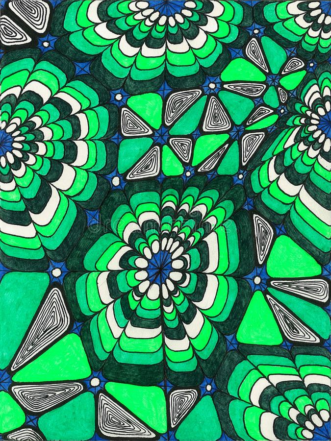 Abstract background and abstract pattern. Beautiful abstract background with an interesting pattern in green shades.  Made in the style of zentagl.  Drawn by vector illustration