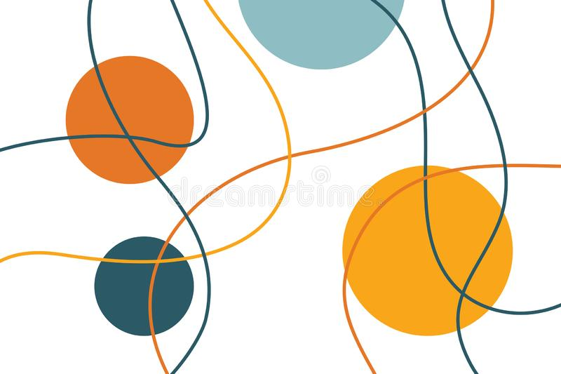 Abstract, background pattern made with curvy, colorful lines. And circle shapes. Modern, playful vector art stock illustration