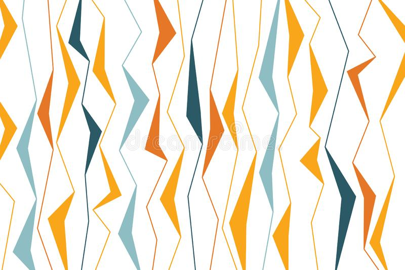 Abstract background pattern made with sharp, organic geometric shapes. In plant abstraction. Modern vector art. Yellow, orange and green colors on white stock illustration
