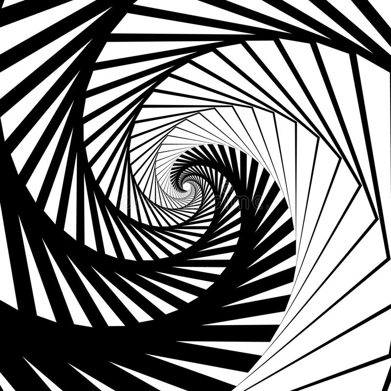 Abstract background-pattern with spirally, vortex effect. Abstract monochrome backdrop spiraling inwards, geometric pattern - Royalty free vector illustration royalty free illustration