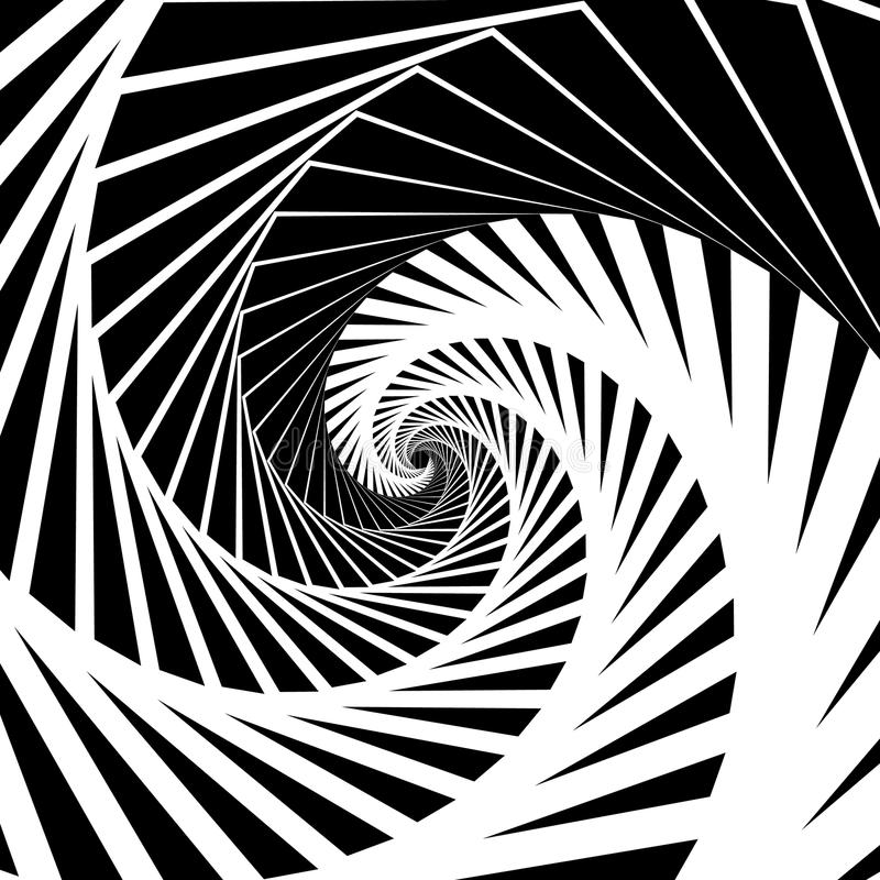 Abstract background-pattern with spirally, vortex effect. Abstract monochrome backdrop spiraling inwards, geometric pattern - Royalty free vector illustration vector illustration
