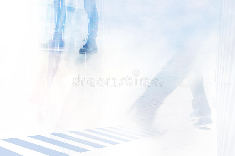 Abstract background, people street walk in the city, soft and pastel color tone stock photos