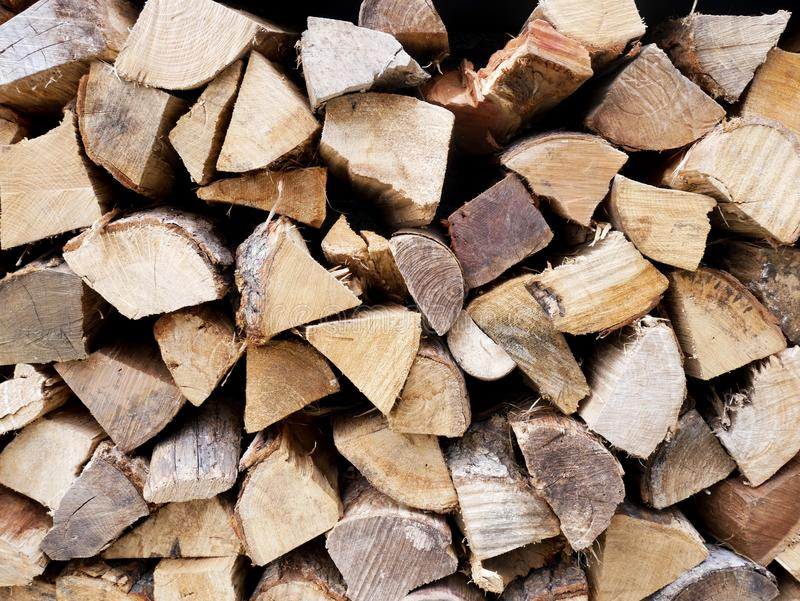 Abstract Background : Pile of firewood. Cross section of firewood. royalty free stock image