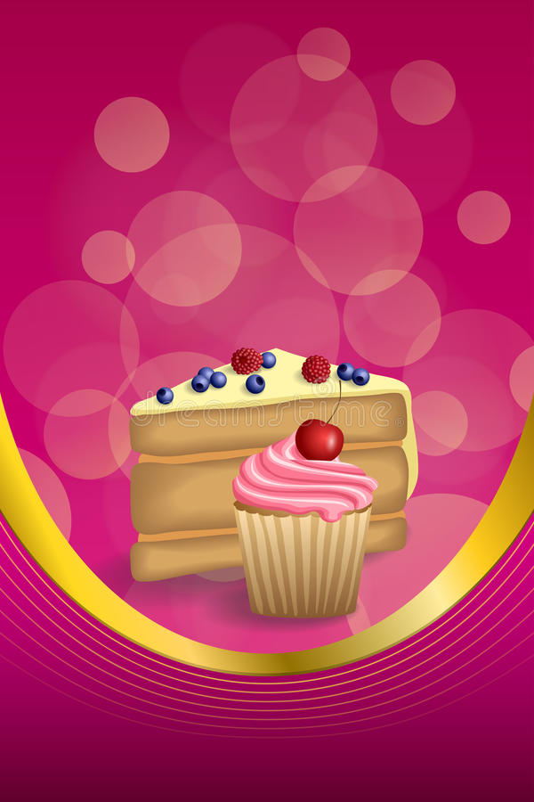Abstract background pink yellow dessert cake blueberry raspberries cherry cupcake muffins cream vertical frame illustration. Vector stock illustration