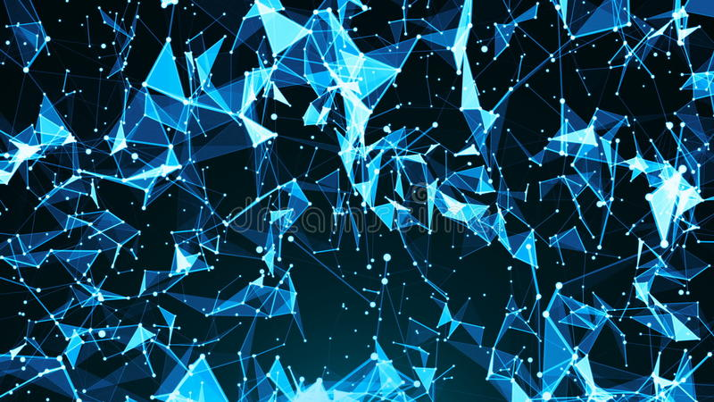 Abstract background with plexus. Technology backdrop. Triangles, lines and dots vector illustration