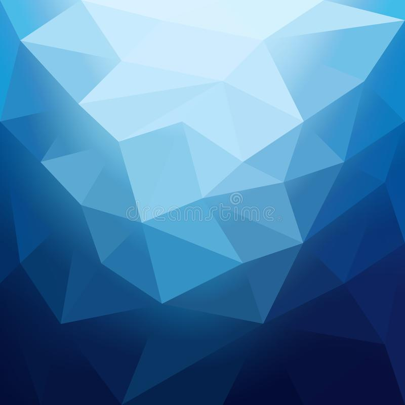Abstract background in the polygonal style. Cool shades of blue. Movement forms royalty free illustration