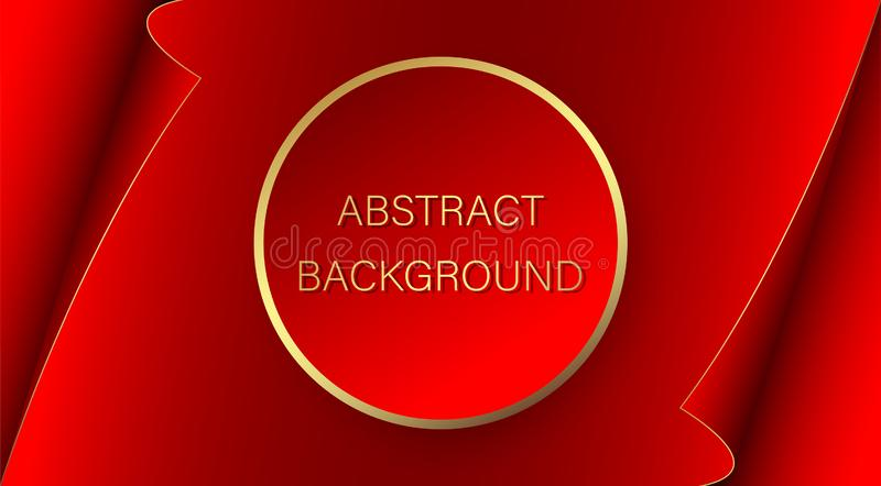 Advertising banner. Red circle with a gold stroke on the background of a red sheet of paper with curved edges. Abstract background vector illustration