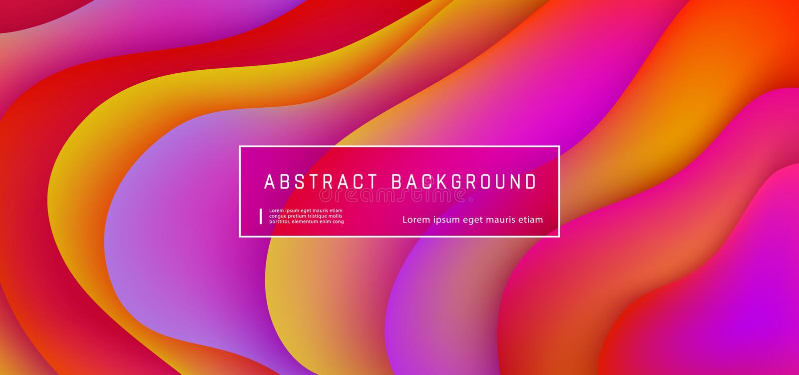 Abstract background with purple, yellow, red wave and liquid shapes composition. Gradient fluid abstract background template, vector illustration. Design royalty free illustration