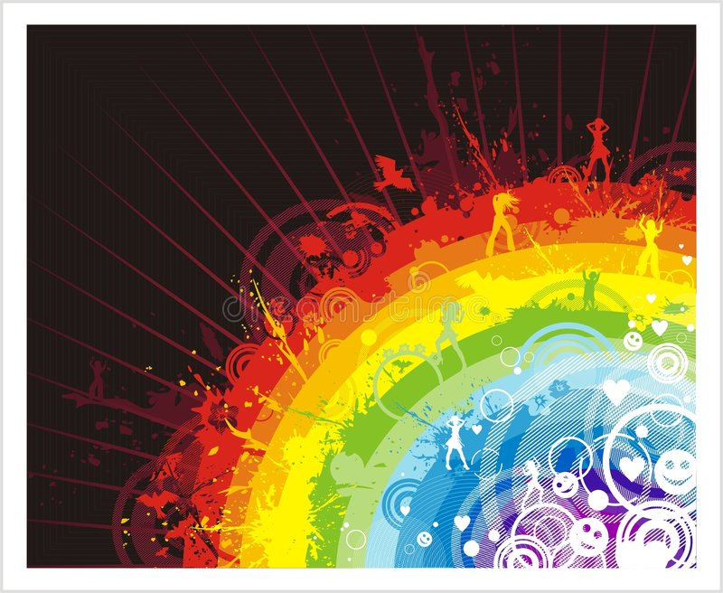 Abstract background with rainbow. Grunge abstract background with colored rainbow, silhouettes and other elements