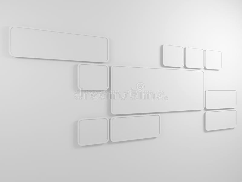 Abstract Background. Rectangular Frames On The Wall. 3D Render ...
