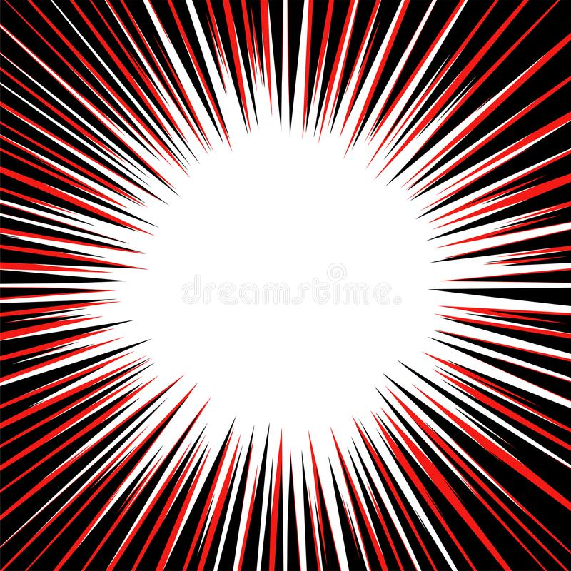 Abstract background with red and black radial lines. Circle shape design element with white center. vector illustration